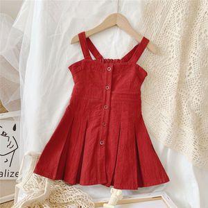 Little Girls Backless Cute Beach Holiday Dress 2020 Summer Fashion Button Down Sleeveless Princess Dress Solid Color