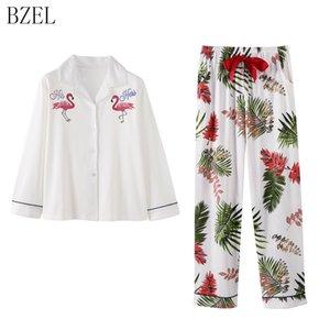 BZEL pijamas Set algodón Otoño pijamas para las mujeres ropa de noche de la nueva historieta del flamenco Turn-down Collar del sueño Salón Ocio Inicio Paño