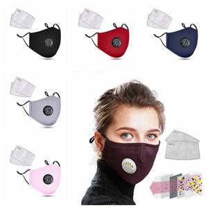 Unisex Cotone Moda Breath Valve PM2.5 Bocca Maschera anti-polvere Anti Pollution Mask Cloth Attivato respiratore con filtro al carbonio