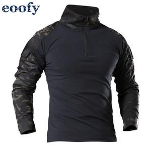 Uniforme Militar Masculino Tactical Long Sleeve T Shirt Combate Homens Camuflagem do exército camiseta Airsoft Paintball Roupa Multicam parte superior da camisa