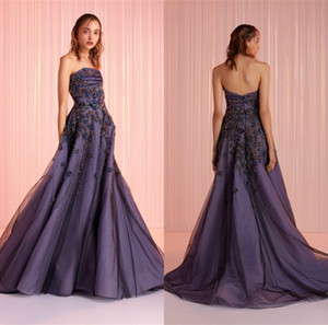 2021 Tony Ward Evening Dresses Strapless A Line Applique Beaded Sweep Train Prom Dress Party Wear Custom Made Red Carpet Gowns