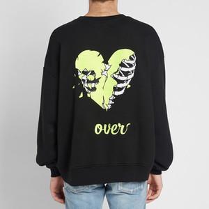 Moda-AM1R1 Crewneck logotipo del cráneo corazón roto bordado suéter de la manera ocasional de la calle mujeres de los hombres suéter de manga larga HFYMWY336