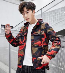 Designer Jacken Langarm mit Kapuze Herren-Oberbekleidung Frühling Windjacke Mode gedruckt Reißverschluss Männlich Kleidung Camouflage Herren