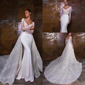 2019 크리스탈 디자인 인어 웨딩 드레스 분리형 기차와 함께 화려한 레이스 럭셔리 웨딩 드레스 Appliqued Country Bridal Gowns