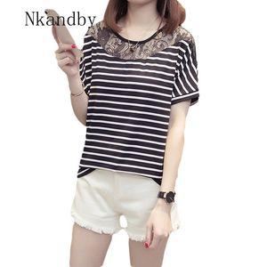 Nkandby Lace Patchwork Striped Women T-shirt 2020 Summer Clothing Large size Short sleeve Woman T shirt Korean 4XL Plus size Top