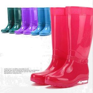 Venta caliente- Mujeres Botas de lluvia Damas cómodas Rodilla Alta Sólido Punta redonda Slip Impermeable Charm Rainboots 2016 Nuevo diseño de moda Alto Tall