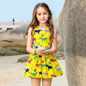 Jupette Maillot une pièce Filles Imprimer Enfants Maillots de bain Enfant animal Maillot de bain enfants coloré maillot de bain jaune Beachwear