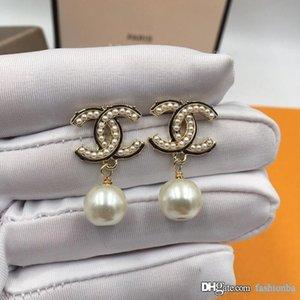 C C luxury designer jewelry women earrings hot girl designer jewelry for wedding party drop pearl earrings jewelery with original gift box