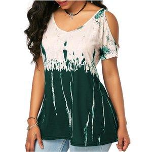 2020 Digital Positioning Print T-shirt Summer 2020 Womens Short Tshirts Leakage Shoulder Large Size Casual Top Tees 5XL Tshirts Femme