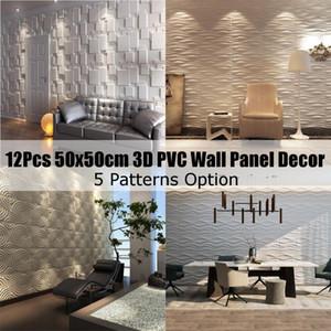 12PCS 3D PVC Panneau mural ignifugé étanche Fond d'écran Salon Decal Accueil Décor 50x50cm gaufrée Fonds d'écran Autocollants