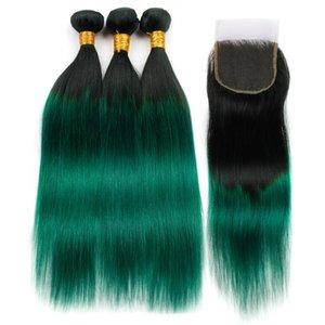 # 1B / 녹색 옹색 스트레이트 인도 인간의 머리카락 3Bundles 폐쇄 옹 브르 그린 인도 머리 짙은 녹색 Ombre 레이스 폐쇄 4 x 4