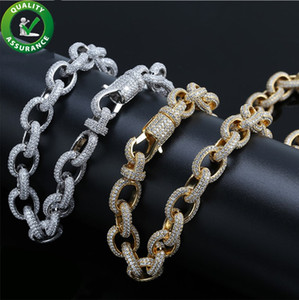 Iced Out Chains Luxury Designer Gold Necklace Men Hip Hop Jewelry Bling Cuban Link Chain Pandora Style Charms Wedding Accessories Rapper DJ
