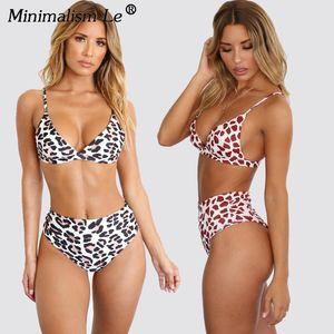 Minimalism Le Leopard Print Bikinis Set Women Sexy Swimsuit Swimwear High Waist Bathing Suit Beach Wear Female Biquini