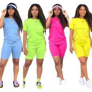 Las nuevas mujeres Sporting ocasional sólida de dos piezas camiseta de manga corta superior por encima de la rodilla pantalones chándal traje de diseño Equipo 4 del color