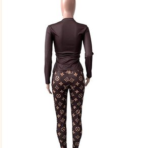 New Fashion Sporty National Print T Shirt Women Tracksuits Pencil Long Pants Two Pieces Sets Sports Suit Outfit