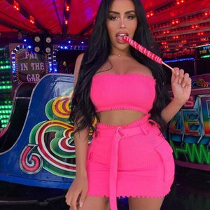 Sexy Two Piece Outfits for Women Summer Set 2020 Off Shoulder Crop Top and Mini Skirt Set Club Party Elegant Pink Matching Sets