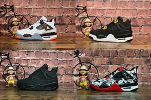 2019 yeni 4 Retro Uçuş Nostalji Hot Lava Beyaz Parlak Crimson erkek basketbol ayakkabıları 4s Dövme Singles Günü Siyah Yangın / Kırmızı oğlan / kız spor ayakkabılar