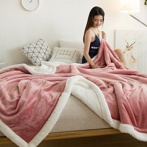 Super Soft Double-layer Lamb Plush Flannel Blanket Padded Bed In Winter Air-conditioned Blanket In Office, Home, Sofa, Outdoor, Travel Use