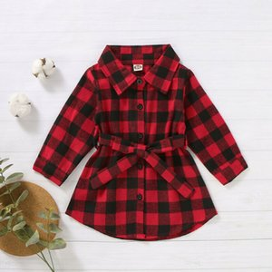 New Christmas Toddler Baby Girl Plaids Shirt Dress Long Sleeve Outfit Party Waistband Mini Xmas Dress 1-5Y Clothes