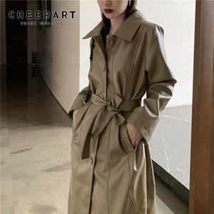 CHEERART длинное кожаное пальто зашнуровать искусственной кожи пальто хаки черный длинный жакет дамы пальто осень женщины 2019