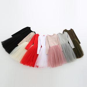 6 Farben-Baby-Kleid-Prinzessin-Kind-Kleid Nette neue Knit lange Ärmel Gaze-Kleid Herbst Tüll Luftblasen-Rock 2020