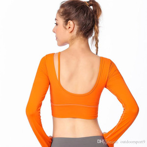 2019 autumn and winter new beauty back yoga clothes long-sleeved T-shirt women with chest pad running sports fitness long-sleeved women&#039