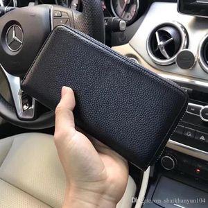 New Fashion Men Wallet Designer Brand Luxury Leather Making Unique Quality Soft Smooth Two Size Zipper Bag Delicate Handbag NB:N1050 +4 +4
