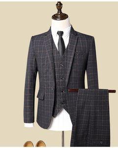 Пользовательские 3 шт. костюм жилет мужские костюмы с брюками красное вино ретро плед Slim Fit вечернее свадебное платье смокинги костюмы плюс размер 5XL
