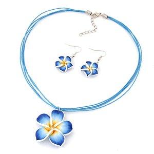 Дети Baby Girl's Ожерелье Синий Сладкий Цветок Ожерелье Рождественский Подарок Серьги Комплект Ювелирных Изделий Детей Подарок На День Рождения