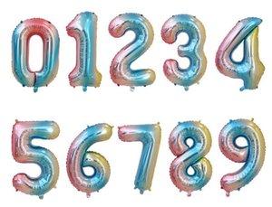 32-Zoll-Regenbogen-Nummer-Folien-Ballone Geburtstags-Party-Dekorationen für Kinder Hochzeit Dekorationen Rose Gold Silber Luftballons Party Supplies DHB673