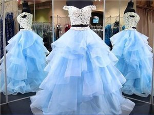 Two Pieces Prom Dresses 2019 Off The Shoulder Cap Sleeves Tiers Skirt Light Sky Blue Dress Party Evening Wear Tulle Cheap Homecoming Dress