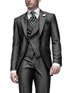 Very Good One Button Gray Groom Tuxedos Peak Lapel Men Suits 3 pieces Wedding Prom Dinner Blazer (Jacket+Pants+Vest+Tie) W561