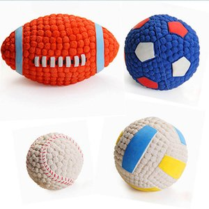 Dog Ball Toys Soft Rubber Pet Dogs Bite Toys Ball Pet Interactive Sound Training Ball Latex Teeth Cleansing Tennis Toy 20S6