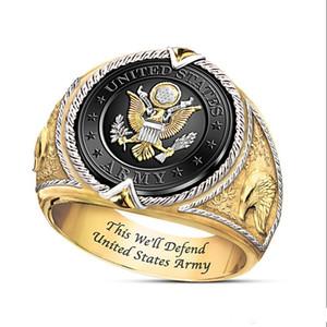 Nuovo Prepotente US Federal Distintivo Army Slogan Questo lo difenderò uomini bicolore Anello di fidanzamento Gioielli Hip Hop Uomo