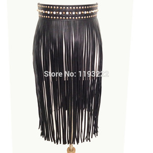 Punk Heavy Metal Handmade Waist Crystel Wide Band Faux Leather Spiked Waist Tassel Fringe Belt Skirt Dress Straps Accessories