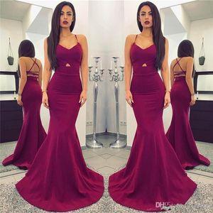 2019 Simples barato novo Plum Mermaid Prom Dresses Sexy Spaghetti Backless Pavimento comprimento Prom Vestidos De Noiva