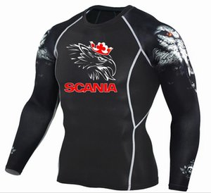 Mens MMA Fitness T Shirts Fashion 3D Teen Wolf Long Sleeve Compression Shirt Bodybuilding SCANIA printing Clothing