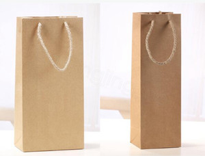 Kraft Paper Red Wine Bag Single And Double Gift Packaging Wines Box Handbags portable party gift warp decor props FFA3378