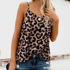 Sommer-Frauen-Blusen-Hemden Leopard Tops beiläufige lose mit V-Ausschnitt Womes Tops und Blusen Weste roupas femininas
