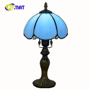 FUMAT Европейский минималистский ретро желтый / синий Средиземноморский Тиффани витражи Гостиная Спальня прикроватная настольная лампа