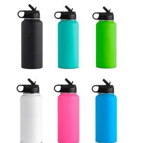 32oz Su Şişesi Paslanmaz Çelik Flask Geniş Ağız Vakum Tumbler İzoleli Kahve Kupa Seyahat Mug Toz Su Şişesi Kaplı Hasır Kapak A03