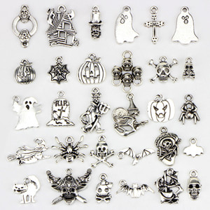 مختلطة 30 تصاميم الجمجمة الخفافيش هيكل العنكبوت شبح اليقطين فانوس معالج القط هالوين قلادة سحر diy قلادة سوار مجوهرات اكسسوارات