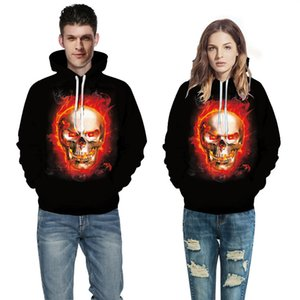 3D Digital Print Halloween Skull Sweater Women Men Couples Long Sleeve Unisex Hoodie Sweatshirt Pullover Tops Baseball Uniform QL-039