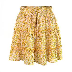 Dot Floral Imprimir Ruched vestido de cintura alta Ruffle Midi saia de verão Roupa feminina Mini vestidos vontade e Navio de areia Gota
