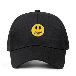 Дрю Хаус Джастин Бибер папа шляпа 100% хлопок смайлик лицо Дрю бейсболка фрагмент шляпа Snapback унисекс уличный тренд шапки