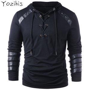 Yozihis Mode pour hommes Faux cuir lacées à capuche pour Boyfriend nouveau style Sweat-shirt à capuche avec cordon de serrage pleine manches V191216