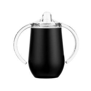 10 once Sippy Cup vino dell'acciaio inossidabile Occhiali doppi manici vuoto portauova Sucker Cup Doppia parete isolata Flask EEA1370-4
