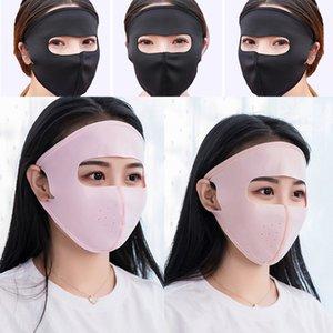 Дышащий Thin Ice Шелкового Полная Маска для лица для женщин Защиты от ультрафиолетовых лучей велоспорта Сплошного цвета моющегося ушного Респиратора