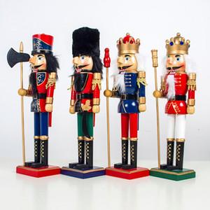 1PC di legno Schiaccianoci Soldato Doll Vintage Artigianato Puppet Ornamenti di Natale X4YD