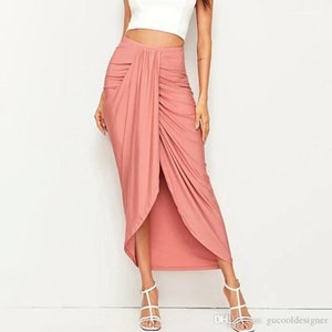 Color Dress Fashion Spring Mid Waist Midi Dresses Casual Panelled Ladies Clothing with Split Women Designer Pure
